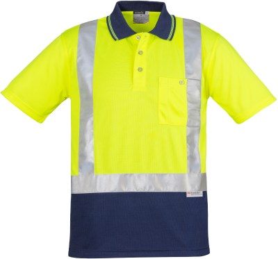 MENS HI VIS SPLICED POLO - SHORT SLEEVE SHOULDER TAPED