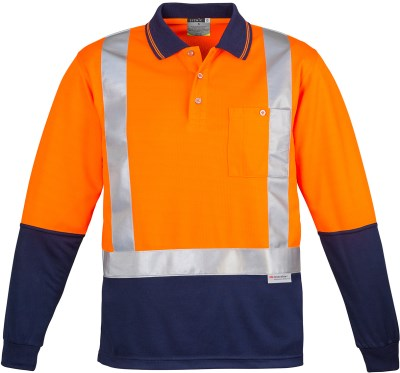 MENS HI VIS SPLICED POLO - LONG SLEEVE SHOULDER TAPED