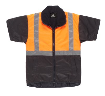 FAR SOUTH SHORT SLEEVE OILSKIN VEST HIVIS AND REFLECTOR TOP